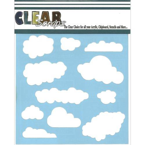 Clear Scraps CSSM6-CLOUD Translucent Plastic Film Stencil, Clouds, 6-Inch x 6-Inch