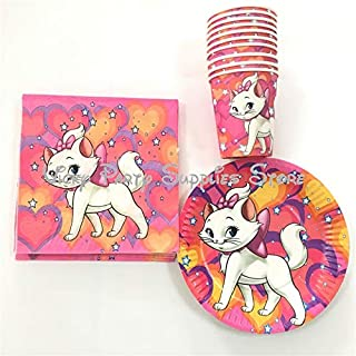 Pink Party Plates 40pcs/lot Marie Cat Disposable Tableware Set Cartoon Pink Cat The Aristocats Birthday Baby Shower Cup Plate Decoration