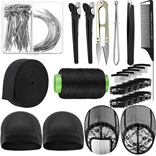 Wig Making Cap Pins Needles Set, Dome Mesh Lace Wig Cap 70 Pieces T Pins C Curved Weaving Needles Metal Snap Wig Combs Rat tail Combs Elastic Wig Band Black Hair Clips Scissor Tweezers Wig Sewing