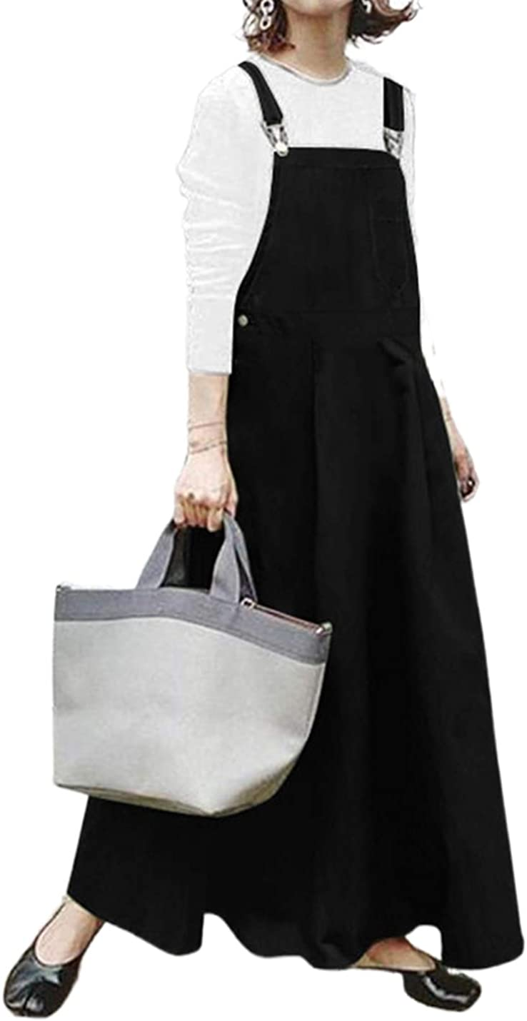 Lentta Women's Casual Loose A Line Long Suspender Skirt Overall Pinafore Dress