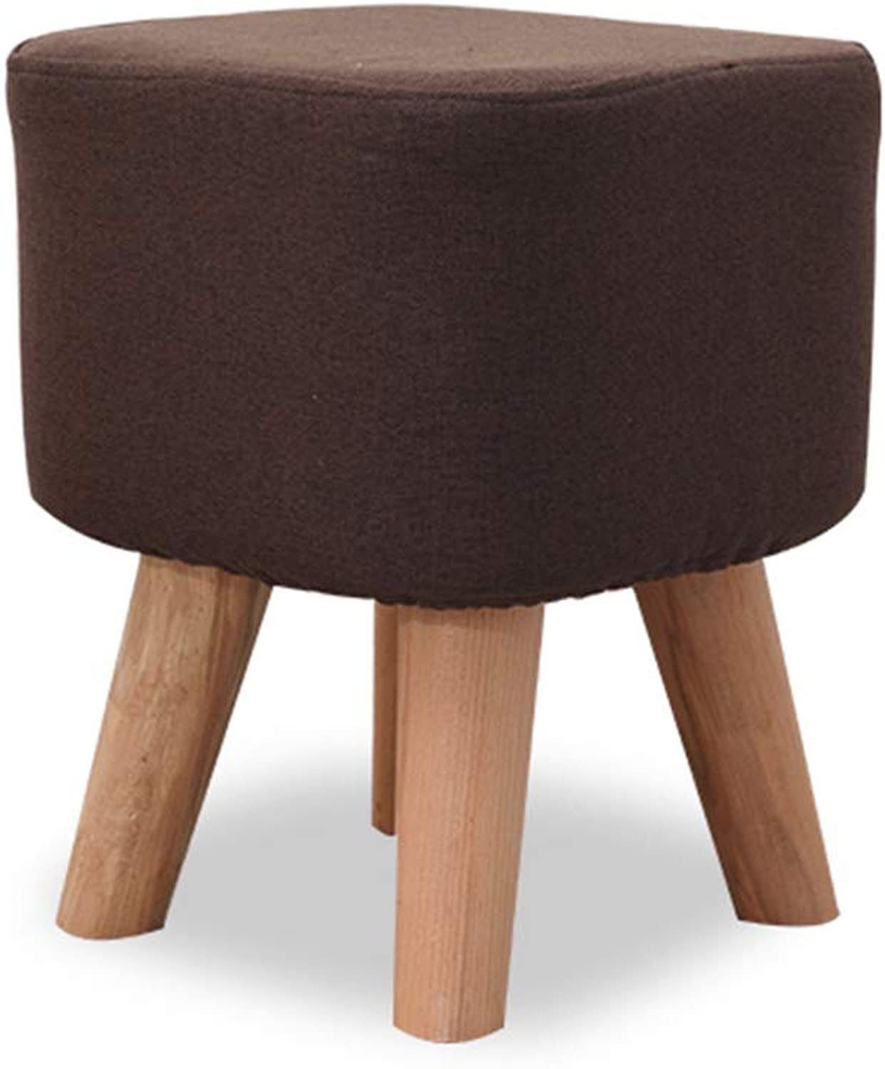 XSJJ Stool, Home Creative Solid Wood Fabric Sofa Round Living Room Mat shoes shoes Stool 6 colors Optional Wooden Bench (color   Brown Square Stool)