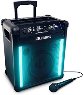 Alesis TransActive Wireless II | 50W Portable Rechargeable Bluetooth Speaker with Light Show, Telescoping Handle, USB Charge Port and Microphone