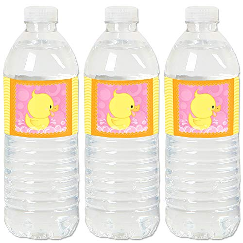 Pink Ducky Duck - Baby Shower or Birthday Party Water Bottle Sticker Labels - Set of 20