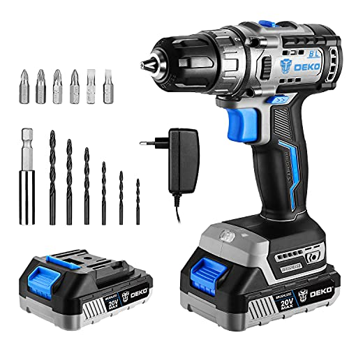 Cordless drill set, DESOON 20V Brushless Drill Driver Kit, 3/8-Inch Keyless Chuck Drill Driver, 371 In-lbs Torque, 18+1 Torque Setting, 2-Variable Speed, Power drill with 1.5A Battery 13pcs Bits