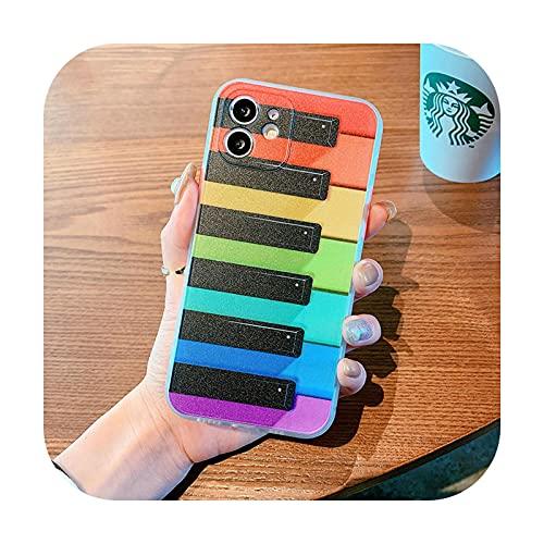 Para iPhone 12 11 Pro Max SE 2020 7 8 Plus X Xs XR Xs Max 12 Mini funda de teléfono de lujo Color Piano Keys Cubierta de protección de silicona-Marco blanco para 12 Mini (5.4)