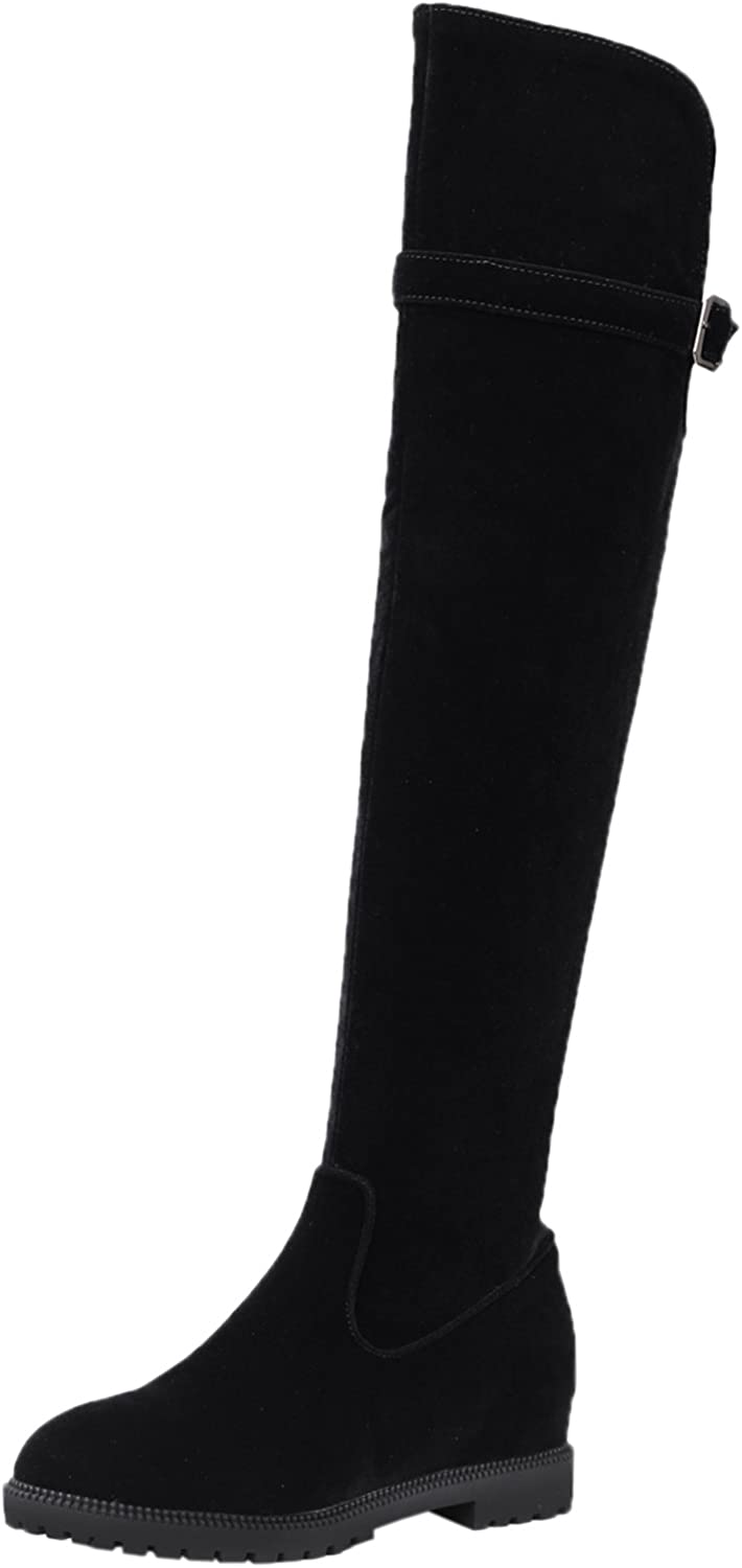 BIGTREE Thigh High Boots Women Faux Suede Increased Winter Elegant Casual Black Flat Long Boots