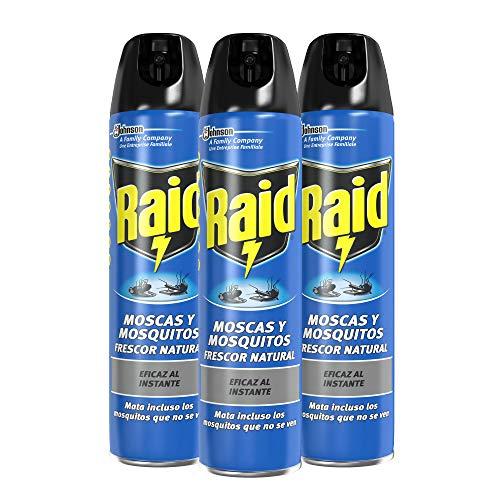 Raid - Moscas y Mosquitos, Spray Insecticida Aroma Frescor Natural, 600ml (Pack de 3)