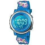 BIGMEDA Reloj Digital para Niños Niña, Luz Intermitente LED de 7 Colores Reloj de Pulsera Niña Multifunción, para Niños de 3 a 12 años (Azul Cielo Unicornio)
