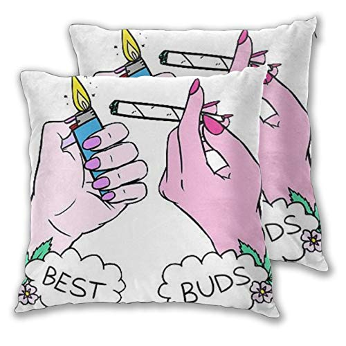 B&MAVIS Best Buds Set of 2 Wrinkle Resistant Ultra Soft Pillowcases Throw Pillow Cover for Couch Sofa Bed Home 18x18