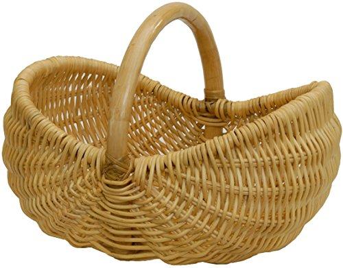 Einkaufskorb/Bügelkorb/Shopper aus echtem Rattan, Henkel- Trage-Korb leicht und stabil (Honig)