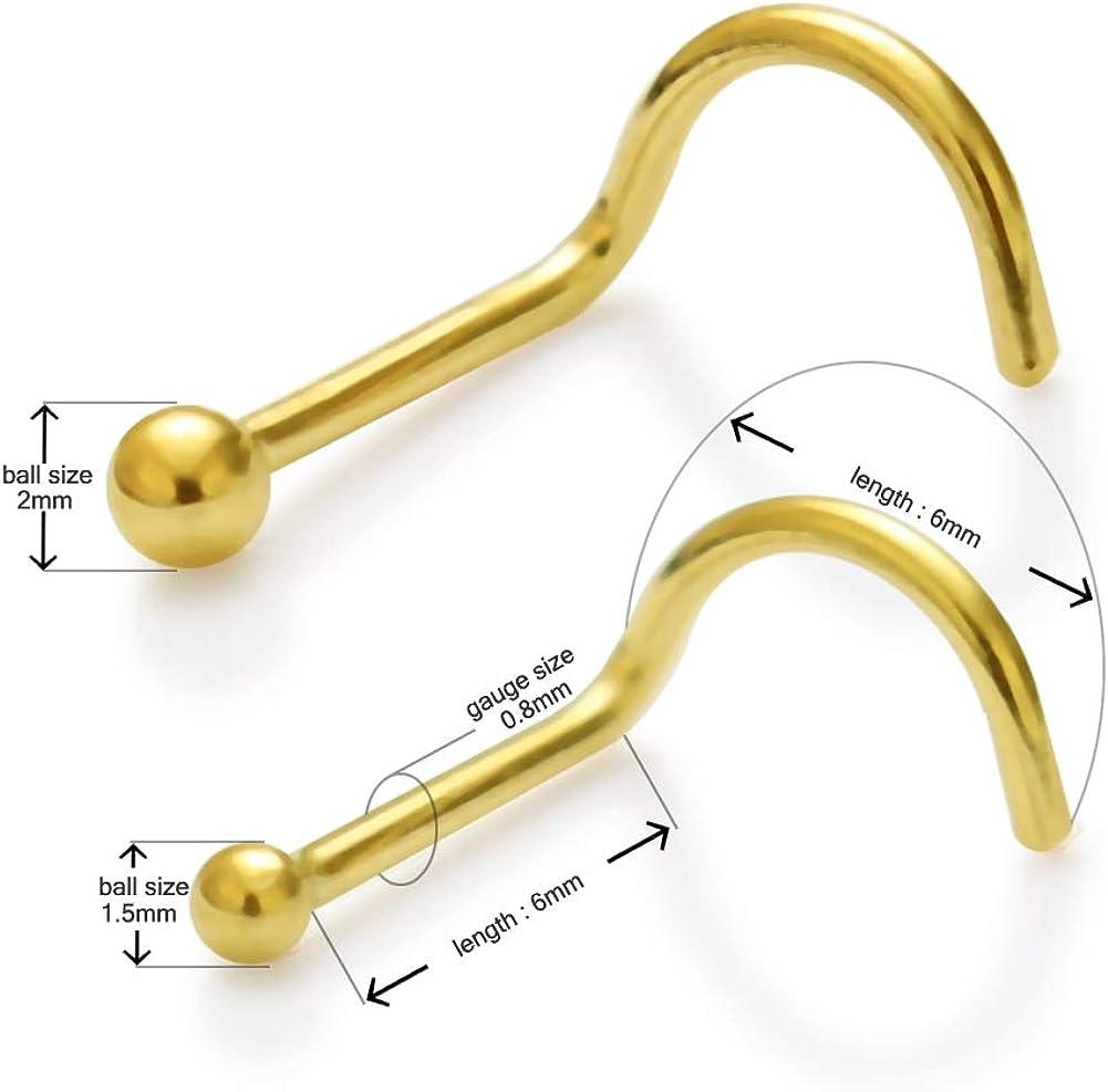 14K Solid Yellow Gold Plain Ball Top 20 Gauge Screw Nose Stud Piercing Jewelry