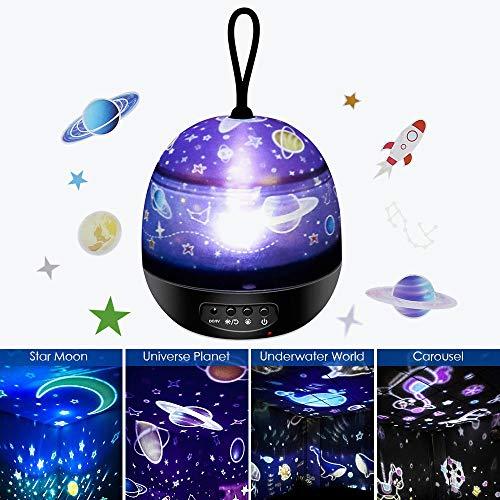 Sternenhimmel Projektor Lampe - Chengtao 4 in 1 LED Nachtlicht Lampe 360° Rotierend Sternenprojektor mit 8 Modi Licht, USB/Batterie Betrieben, Perfekt für Kinderzimmer Geschenk