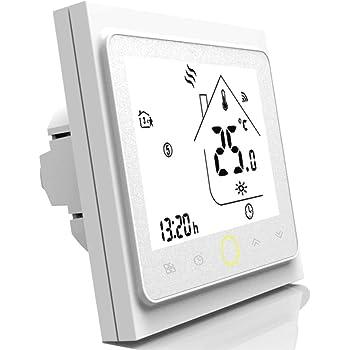 Blusea Termostato Programable WiFi 3A para calefacción Individual de calderas de Gas/Agua Funciona con Alexa/Google Home Contacto seco: Amazon.es: Hogar