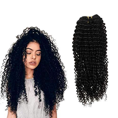 Hetto 12 Pouces Extensions de Clip Couleurs Vrais Cheveux 7Pcs 100g Full Head Clip on Hair Double Weft Curly Hair Extensions for Black Women #1B Natural Black Extension a Clip Cheveux Kinky Curly