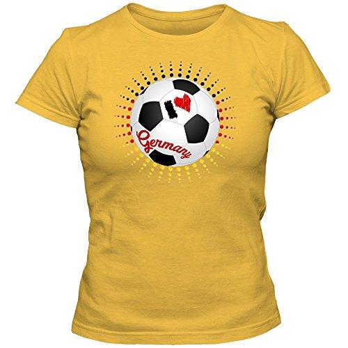 Deutschland WM 2018#8 T-Shirt | Fußball | Damen | Fanshirt | Trikot | Nationalmannschaft, Farbe:Gelb (Gold L191);Größe:L