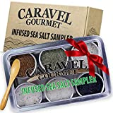 The Infused Sea Salt Sampler - 6 Reusable Tins with Bamboo Spoon - - Hawaiian Bamboo Jade, 5 Pepper,...