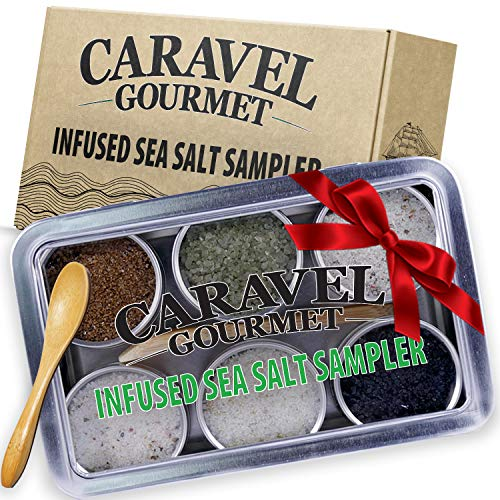 The Infused Sea Salt Sampler - 6 Reusable Tins with Bamboo Spoon - - Hawaiian Bamboo Jade, 5 Pepper, Garlic Medley, Rosemary, and Hawaiian Black Lava - 1/2 oz each (3 oz total)