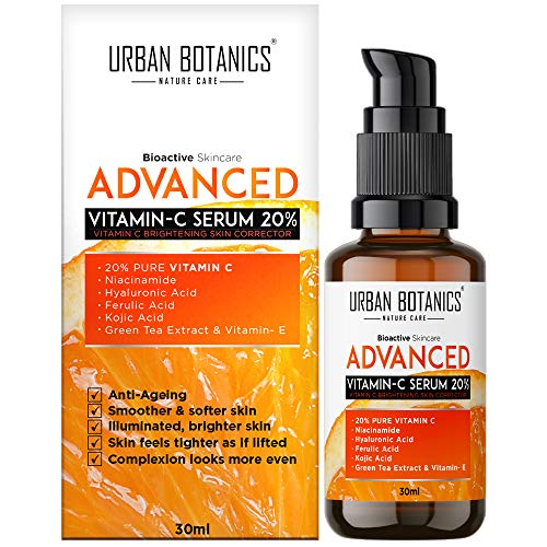 UrbanBotanics Advanced Vitamin C Face Serum 20% with Hyaluronic, Ferulic & Kojic Acid, Niacinamide, Green Tea Extract For Glowing Skin, Brightening, Whitening, Ageing, Wrinkles, Fine Lines, Pigmentation - 30ml