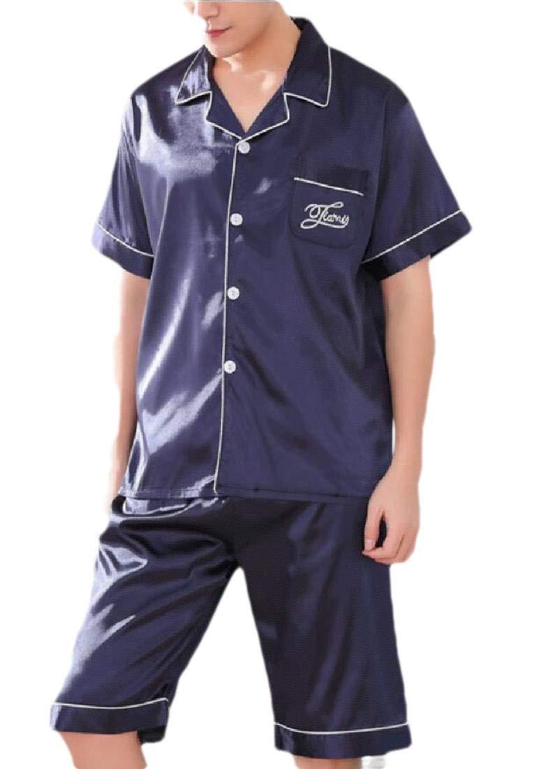 Ensemble de Pyjama à Manches Courtes avec Short boutonné pour Homme
