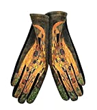 Goods4good Guantes para mujeres y señoras, de otoño e invierno, con pantalla táctil y diseño de pinturas de los famosos pintores: Van Gogh y Klimt. Talla única. (Marrón y amarillo)