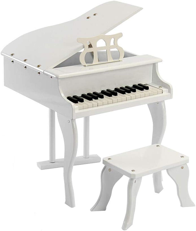 LINGLING-Piano Piano pour Enfants 30 Touches Piano en Bois pour Enfants Introduction Pratique Piano Cadeau Petit Piano Jouet (Couleur   Blanc)