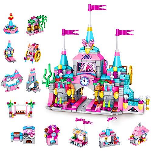VATOS Juego de Bloques de Construcción para Niñas, Juguetes Castillo Princesa para Niña, Juguetes Palacio Rosa, Kits de Construcción Stem para Niños, Juguetes de Regalo para Niñas de 6, 7, 8 y 9 Años