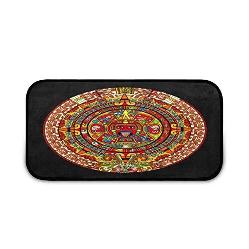 Colorfull Maya Aztec Calendar Doormat Rug Easy to Clean Non Slip Backing Entry Way Doormat Floor Mat for Patio Front Door Entry Garage Kitchen Bathroom Laundry Room All Weather Indoor/Outdoor