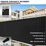 Windscreen4less Heavy Duty Privacy Screen Fence for Chain Link Fence Solid Black 6' x 50' Brass Grommets 150 GSM Zip Ties Included - Customized