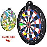 GIGGLE N GO Reversible Magnetic Dart Board for Kids -Fun Kids Game on Each Side, Just Turn It Around and Play Lots of Different Fun Games. (Dinosaur Theme)
