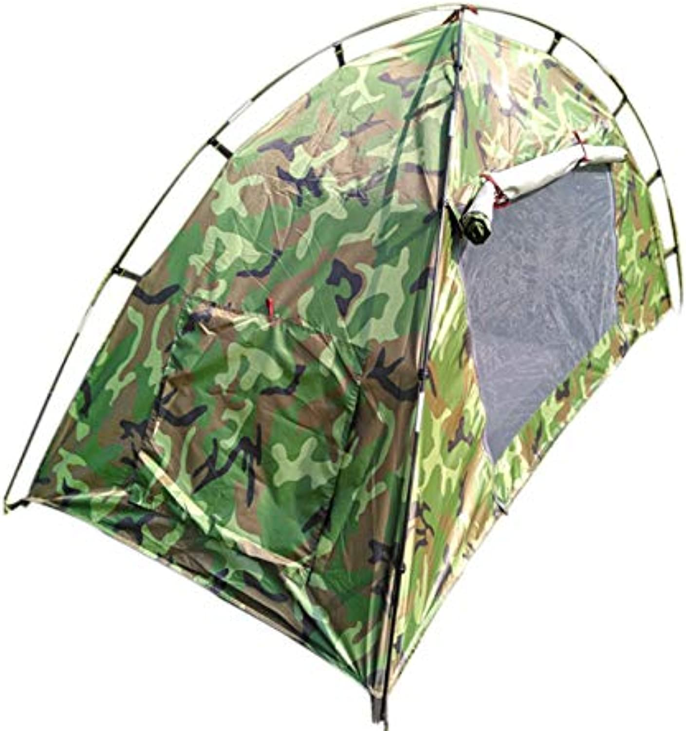 Jungle Camouflage Windproof and Rainproof Double-Layer Single Tent, Moisture pad, Inflatable Cushion, Outdoor Camping Fishing Indoor