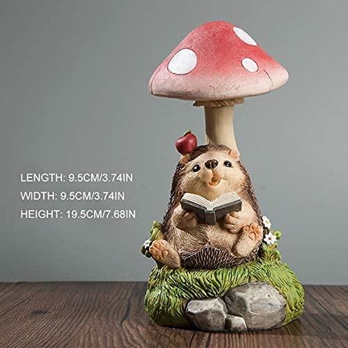 Trädgårdsprydnader utomhus kanin igelkott nattlampa prydnad sittande under en svamp läsbok hantverk miniatyr trädgård staty dekor gräsmatta figurer hantverk älva trädgård prydnader