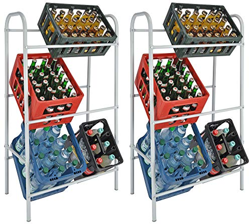 Novaliv 2X Getränkekistenhalter I Regal für 6 Kiste I weiß I Kistenregal I Getränkekastenregal Getränkeregal Regal Abstellraum Multi-Function Rotating Storage Rack