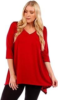 WearOrGoBare Womens Burgundy Red Asymmetrical Plus Size Tunic Top
