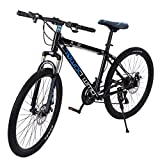 【US Shipment 】Junior Aluminum Full Mountain Bike, Stone Mountain 26 Inch 21-Speed ​​Bicycle, Mens/Womens Hybrid Road Bike Aluminum Full Suspension Road Bike for Intermediate to Advanced Riders (Blue)