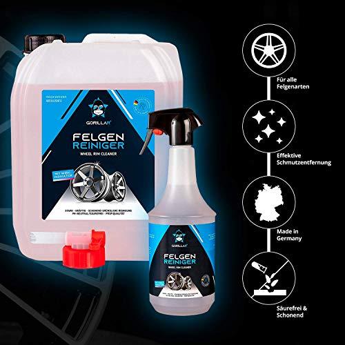GORILLAR Felgenreiniger Set, Autopflege für Alufelgen, säurefrei pH-neutral und Felgen schonend, 5 Liter im Kanister und eine 1 Liter Sprühflasche (leer)