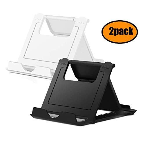 MR ZHU 2 Pack Universal Portable Adjustable Desktop Phone Stand for Smart Phone Holder compatible with iPhone Pad and so on Black and White