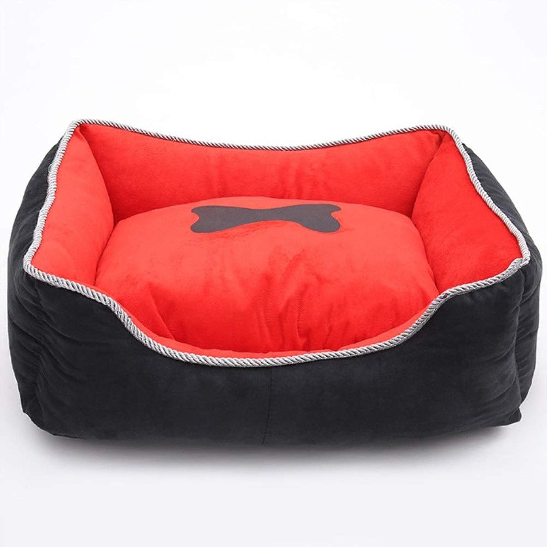 CITéTOILE Dog Bolster Bed Pet Mattress Cat Cushion Pillow Mat Kennel Warm Pet Bed Removable Red XL