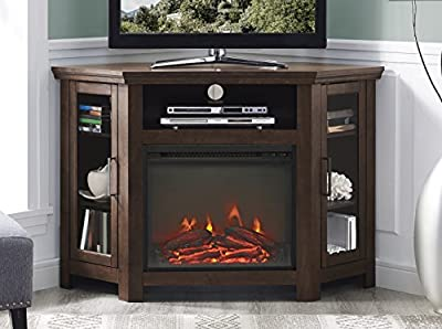 """Walker Edison Furniture Company Tall Wood Corner Fireplace Stand for TV's up to 55"""" Flat Screen Living Room Entertainment Center, 48 Inch, Traditional Brown"""