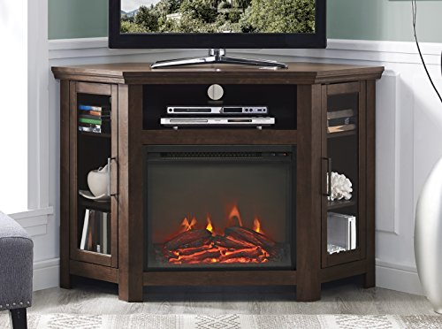 Walker Edison Alcott Classic Glass Door Fireplace Corner TV Stand for TVs up to 55 Inches, 48 Inch, Traditional Brown