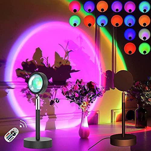 Lámpara de Proyección Sunset 16 Colores Led Rainbow Sunset Lamp Con Control Remoto Luz De Noche Led De 180 Grados Para Fotografía / Selfie / Hogar / Sala De Estar / Decoración De Dormitorio