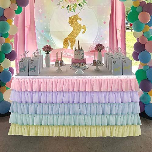 DishyKooker Flauschigen Chiffon Tisch Rock tischdecke für Party Hochzeit Geburtstag Dekoration Farben 9 Fuß (2,75 m * 0,77 m) Haushalt