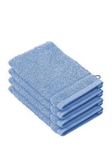 De Witte Lietaer 194686 Stephanie Waschlappen, Baumwolle, 4er Pack, blau, 15 x 22 x 1 cm