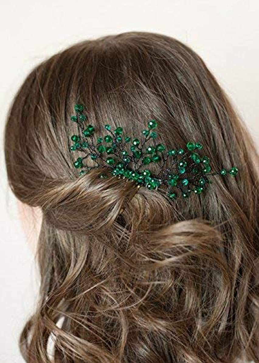 手入れペチコートスライスFXmimior Bridal Women Green Vintage Wedding Party Crystal Rhinestone Vintage Hair Comb Hair Accessories [並行輸入品]