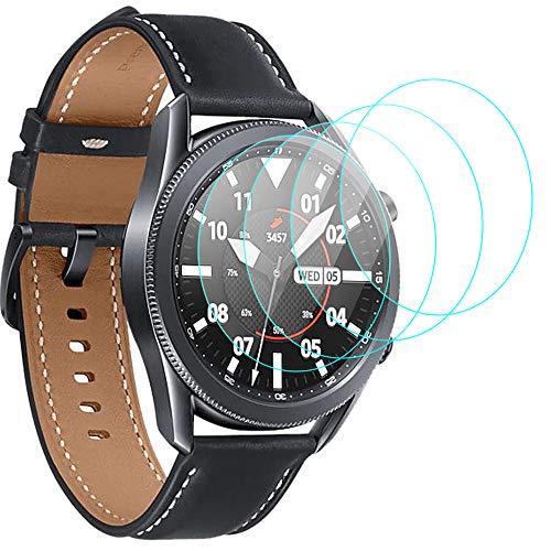 CAVN 4-Stücke Kompatibel mit Samsung Galaxy Watch 3 45mm Schutzfolie Panzerglas, Wasserdichtes Glas Schutz Bildschirmschutzfolie Anti-Kratzen Bildschirmschutz Panzerfolie für Galaxy Watch 3 45mm
