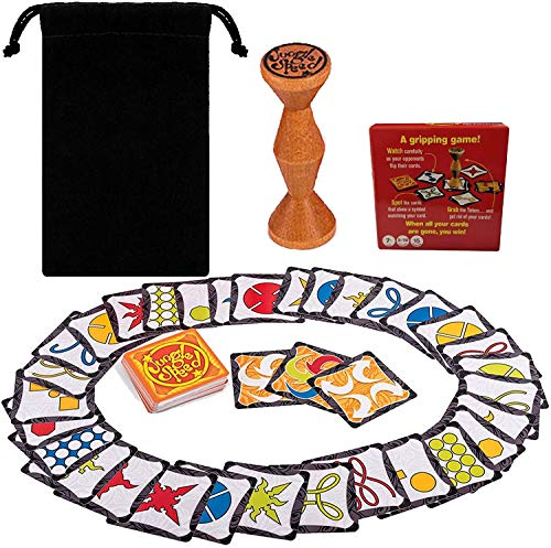Jungle Speed Game 2021 Board Game Brown Wood Jungle Token Run Fast Pair Speed Forest for Family Party Fun Totem Game English Spanish Rules Helps Improve Participant is Responsiveness