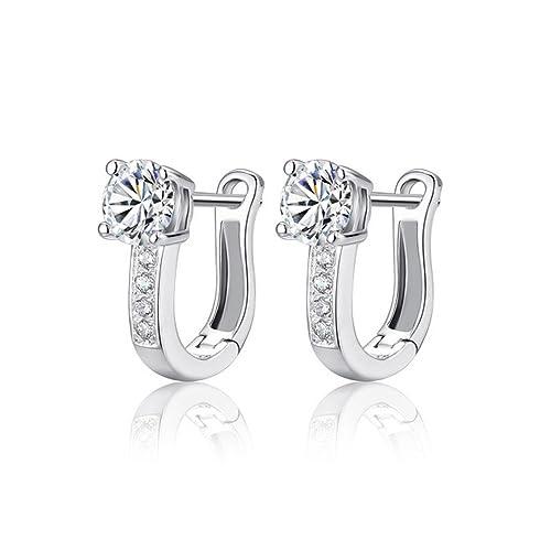 3d1e63532a7d 925 Sterling Silver - White Gemstones - Hoop Earrings for Women
