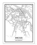 Poster Bosnien-Herzegowina Schwarz Weiß Stadtplan Poster Nordic Wohnzimmer Sarajevo Wandkunst Bilder Wohnkultur Leinwand Malerei C, 16x20inch(40x50 cm)