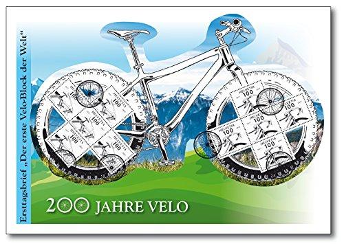 Der Fahrrad-Spezialblock | Schweiz| Briefmarken-Block auf Ersttagsbrief |200-Jahr-Jubiläum des Fahrrades |Auflage nur 300 Exemplare | Exklusiv bei Hermann E. Sieger | Velo | Modernes Fahrrad | Draisine | E-Bike | Laufrad | Karl Drais