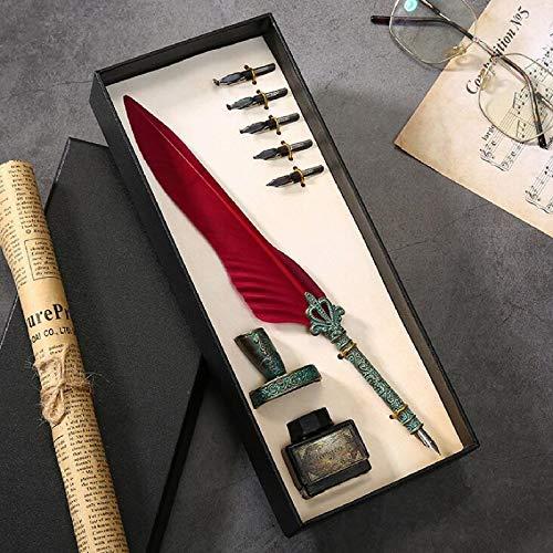 Julymoda Retro Quill - Juego de bolígrafos de caligrafía, pluma estilográfica, con tinta y portalápices (vino tinto)