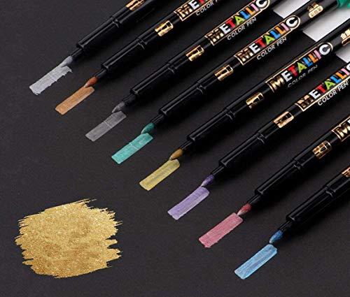 Marcadores metálicos GXR metálicos permanentes para pintura de roca, papel negro, creación de tarjetas de regalo, álbumes de recortes, tela, álbum de fotos DIY, juego de 8 colores metálicos